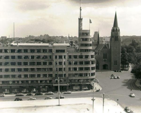 Das Gebäude des INR an der Brüsseler Place Flagey 1952 (Bild: Belga-Archiv)