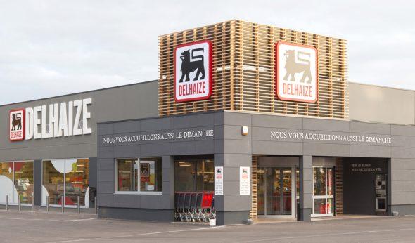 Außenansicht des Delhaize in Sombreffe: So stellt sich Doris Schaus auch die neue Fassade des Geschäfts in Eupen vor