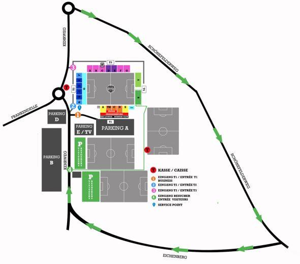 Stadionplan der AS Eupen: Anfahrt der Gegner