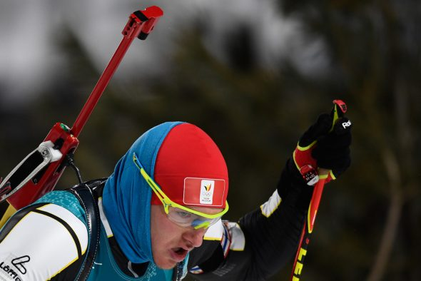 Florent Claude beim Biathlon-Sprint in Pyeongchang