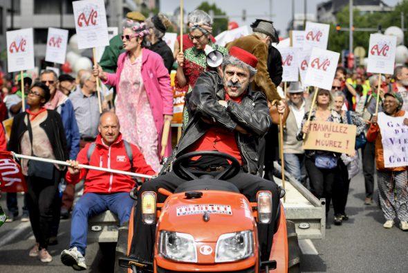 Protest gegen die Rentenreform der Föderalregierung in Brüssel (Bild: Dirk Waem/Belga)