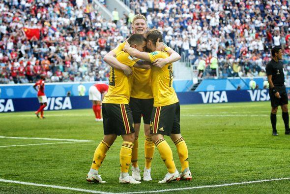Eden Hazard, Kevin De Bruyne und Dries Mertens feiern Platz drei bei der Fußball-WM