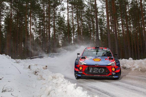 Thierry Neuville/Nicolas Gilsoul im Hyundai i20 beim Shakedown der Rallye Schweden (Bild: Fabien Dufour/Hyundai Motorsport)