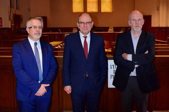 Gerichtspräsident Dominique Gerard, Justizminister Koen Geens und Vincent Macq, Prokurator des Königs in Namur (Bild: Maxime Asselberghs/Belga)