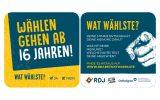 """Auf Bierdeckeln wirbt der RDJ für sein Online-Tool """"Wat Wählste?"""" (Bild: RDJ)"""