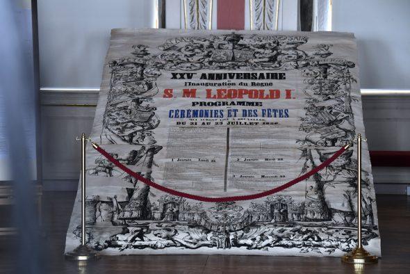 Plakat zu den Feierlichkeiten anlässlich des 25. Thronjubiläums Leopolds des I. in 1856 (Bild: Eric Lalmand/Belga)