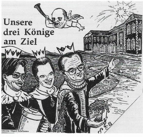Karikatur im Grenzland-Report im Januar 1984: Über den Ministern Maraite, Lejoly und Fagnoul schwebt als Posaunenengel Ratspräsident Betsch (Zeichner: Edgar Belleflamme)