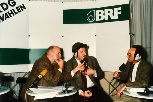 Wahlen 1990: (v.l.n.r.) Freddy Derwahl, Karl-Heinz Lambertz und Paul Maraite (Archivbild: BRF)