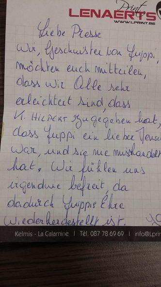 Nachricht der Familie Lenaerts (Bild: privat)