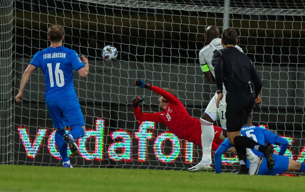 Belgium's Romelu Lukaku scores a goal during the soccer match between the Belgian national soccer team Red Devils and Iceland, Wednesday 14 October 2020 in Reykjavik, Iceland, a European Cup 2020 qualification game. The Euro 2020 European Soccer Championships have been postponed to 2021, due to the ongoing coronavirus pandemic. BELGA PHOTO ARNI TORFASON