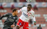 Eupen's Adriano Correia and Mouscron's Jean Onana fight for the ball during the Jupiler Pro League match between RE Mouscron and KAS Eupen, Sunday 18 October 2020 in Mouscron, on day 9 of the 'Jupiler Pro League' first division of the Belgian soccer championship. BELGA PHOTO BRUNO FAHY