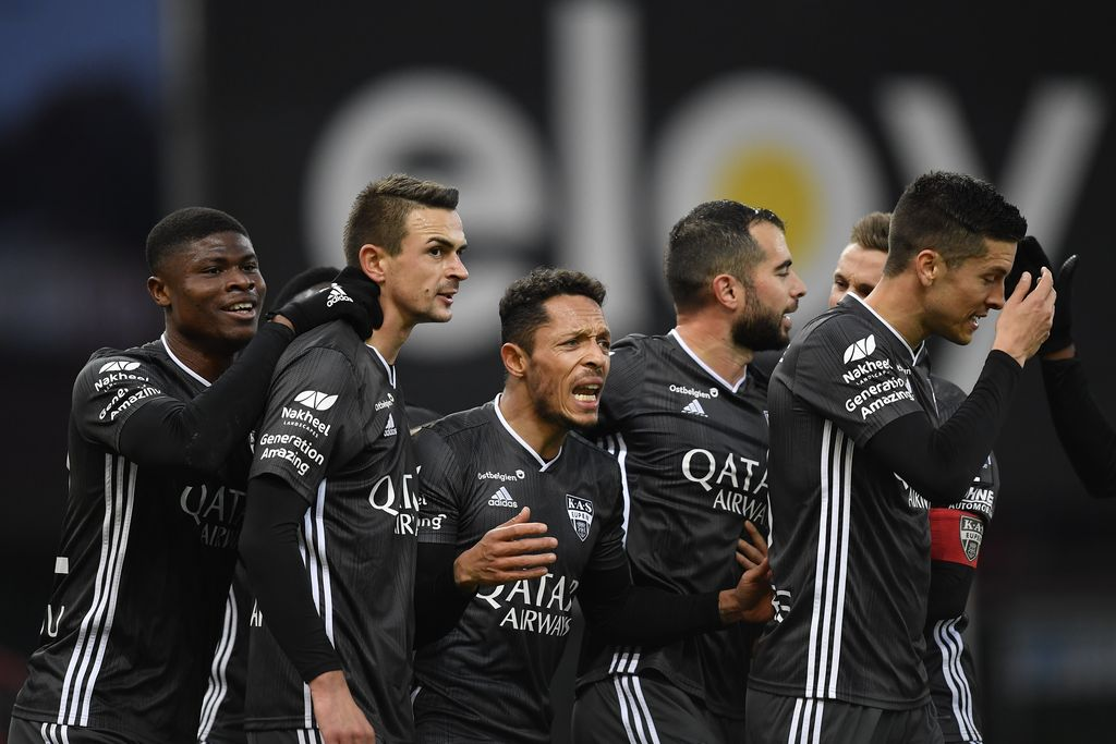 Eupen's Smail Prevljak celebrates after scoring during a soccer match between Standard de Liege and KAS Eupen, Saturday 21 November 2020 in Liege, on day 13 of the 'Jupiler Pro League' first division of the Belgian championship. BELGA PHOTO JOHN THYS