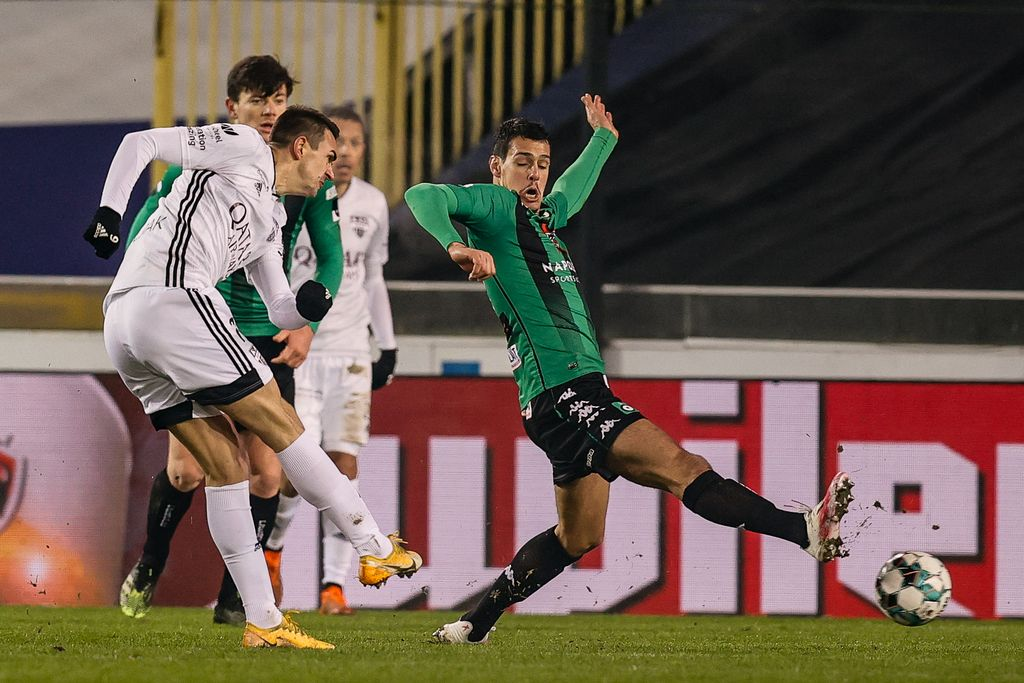 Eupen's Smail Prevljak scores a goal during a soccer match between Cercle Brugge and KAS Eupen, Saturday 09 January 2021 in Brugge, on the advanced day thirty of the 'Jupiler Pro League' first division of the Belgian championship. BELGA PHOTO BRUNO FAHY