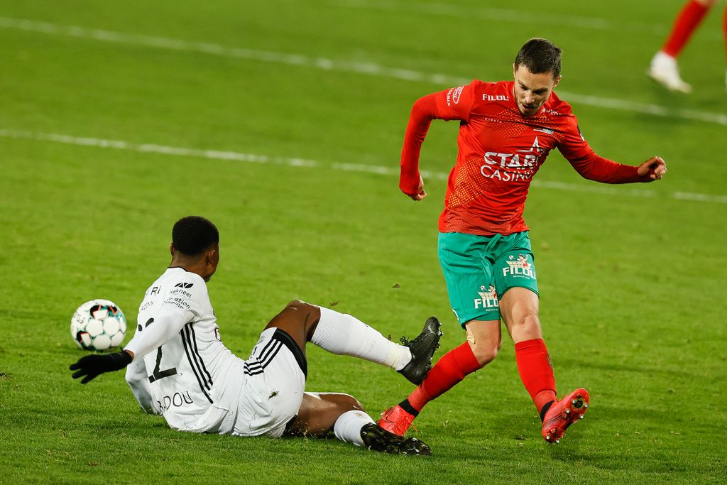 Eupen's Emmanuel Agbadou commits a foul during a soccer match between KV Oostende and KAS Eupen, Tuesday 12 January 2021 in Liege, a potsponed game of day 17 of the 'Jupiler Pro League' first division of the Belgian championship. BELGA PHOTO BRUNO FAHY