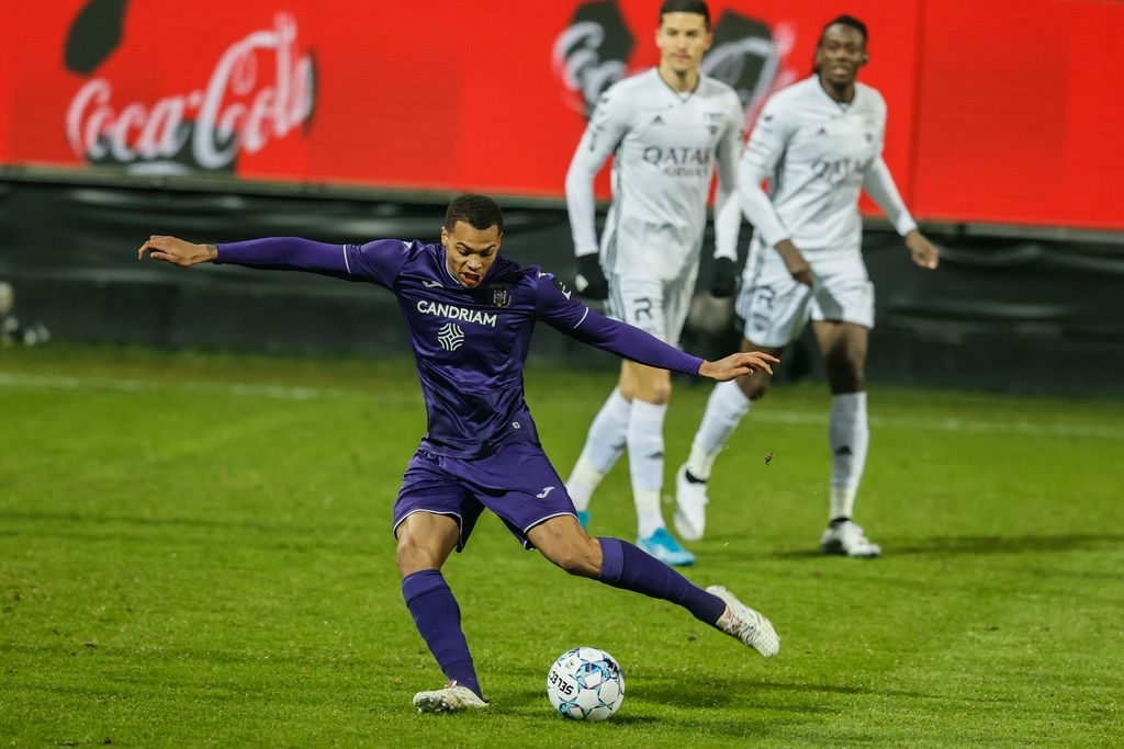Anderlecht's Lukas Nmecha pictured in action during a soccer match between KAS Eupen and RSC Anderlecht, Friday 15 January 2021 in Eupen, on day 20 of the 'Jupiler Pro League' first division of the Belgian championship. BELGA PHOTO BRUNO FAHY