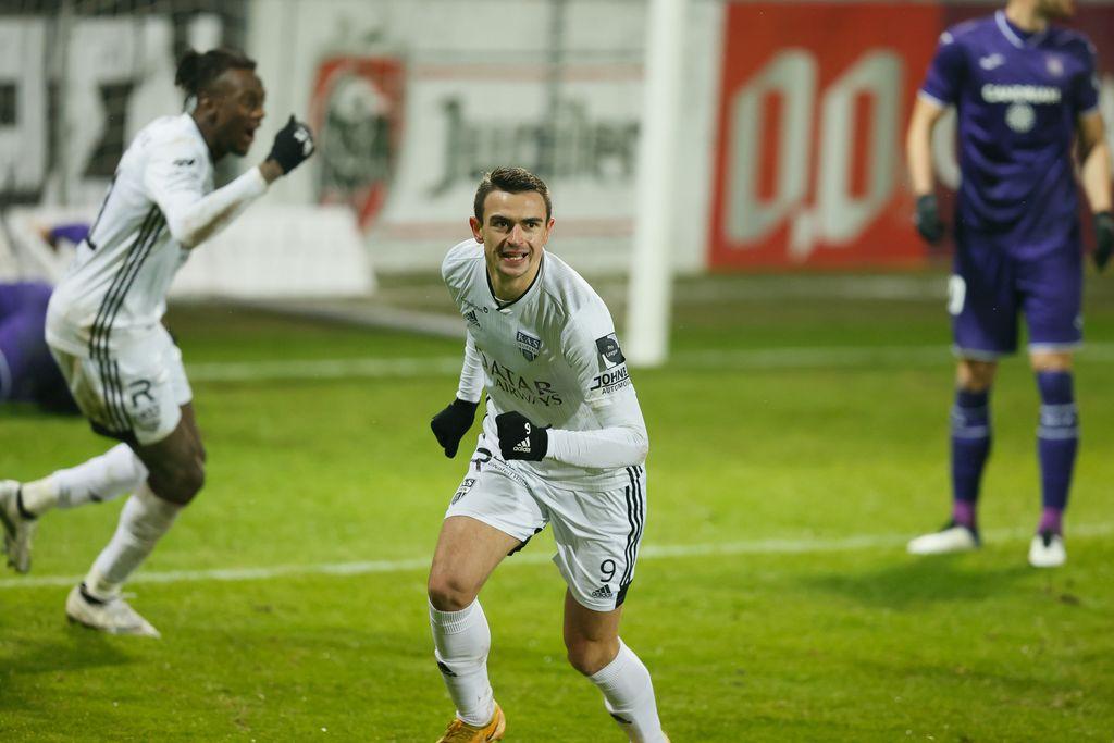 Eupen's Smail Prevljak celebrates after scoring during a soccer match between KAS Eupen and RSC Anderlecht, Friday 15 January 2021 in Eupen, on day 20 of the 'Jupiler Pro League' first division of the Belgian championship. BELGA PHOTO BRUNO FAHY