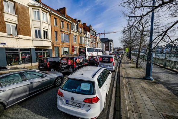 Sensibilisierungsaktion von Horeca-Sektor: Konvoi nach Namur (Bild: Bruno Fahy/Belga)