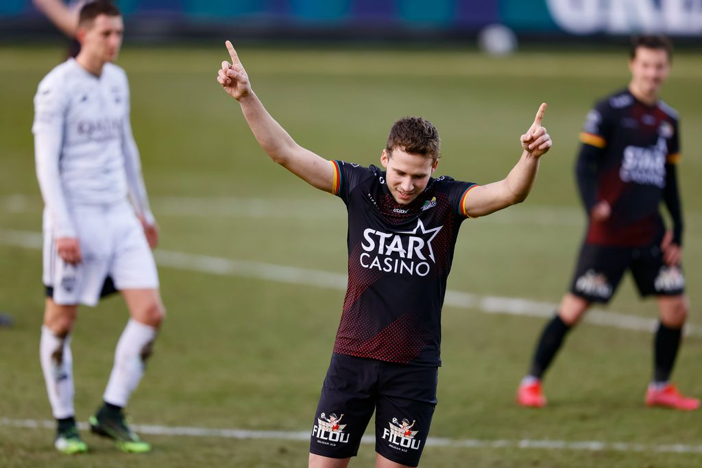 Oostende's Andrew Hjulsager celebrates after scoring during a soccer match between KAS Eupen and KV Oostende, Saturday 20 February 2021 in Eupen, on day 27 of the 'Jupiler Pro League' first division of the Belgian championship. BELGA PHOTO BRUNO FAHY