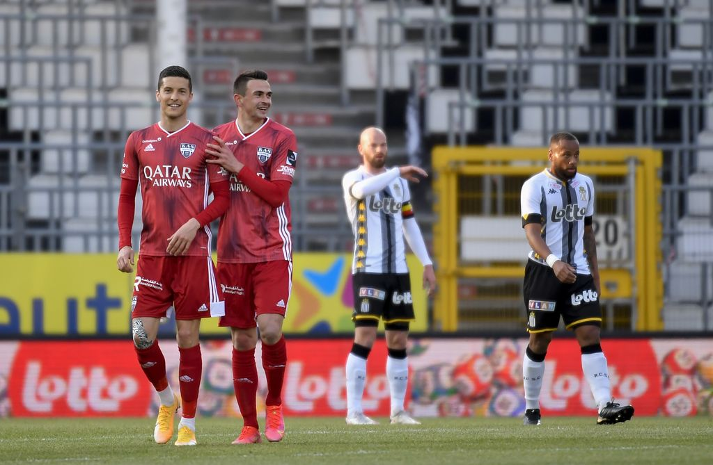 Eupen's Smail Prevljak celebrates after scoring during a soccer match between Sporting Charleroi and KAS Eupen, Saturday 17 April 2021 in Charleroi, on the 34th and last day of the regular season of the 'Jupiler Pro League' first division of the Belgian championship. BELGA PHOTO JOHN THYS