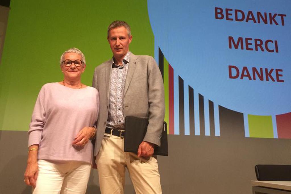 Martine Tossens und Didier Bonni bei der BOIC-Generalversammlung am Freitagabend in Brüssel (Bild: Christophe Ramjoie/BRF)
