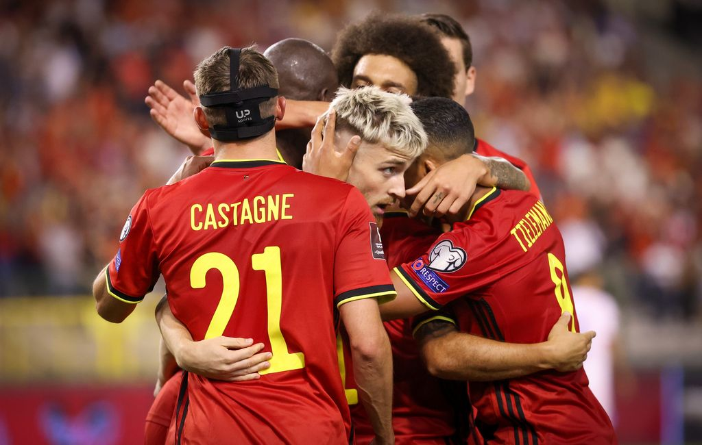 Belgium's Alexis Saelemaekers celebrates after scoring a soccer game between Belgian national team Red Devils and Czech Republic, Sunday 05 September 2021 in Brussels, game 5 in group E of the qualifications for the 2022 FIFA World Cup. BELGA PHOTO VIRGINIE LEFOUR