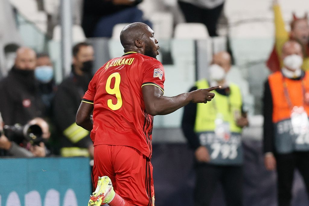 Belgium's Romelu Lukaku celebrates after scoring during a soccer game between Belgian national team Red Devils and France, the semi-finals of the Nations League, in Torino, Italy, on Thursday 07 October 2021. BELGA PHOTO BRUNO FAHY