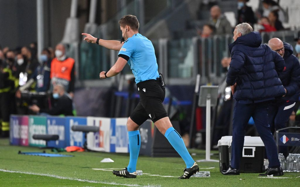referee Daniel Siebert gestures during a soccer game between Belgian national team Red Devils and France, the semi-finals of the Nations League, in Torino, Italy, on Thursday 07 October 2021. BELGA PHOTO DIRK WAEM